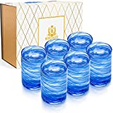 BOHEMLUX Set de 6 Vasos de Cristal Grandes Soplados a Mano en Espiral Azul de 350 ml, de 11cm Alto y 8cm Ancho, Regalo para Padres, Regalo Hombre o Regalo Mujer