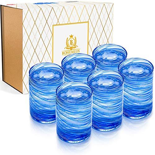 Set de 6 verres de Cristal soufflés à la main en spirale bleue 350ml, 11cm de haut et 8cm de large pour offrir en cadeau à un homme ou une femme.