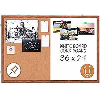 Dry Erase Cork Board Combo maxtek 36 x 24 inches Hanging Combination Whiteboard for Wall Magnetic Whiteboard & Bulletin Board Wall Mounted for Decor Home Office & Classroom [Natural Wooden Frame]