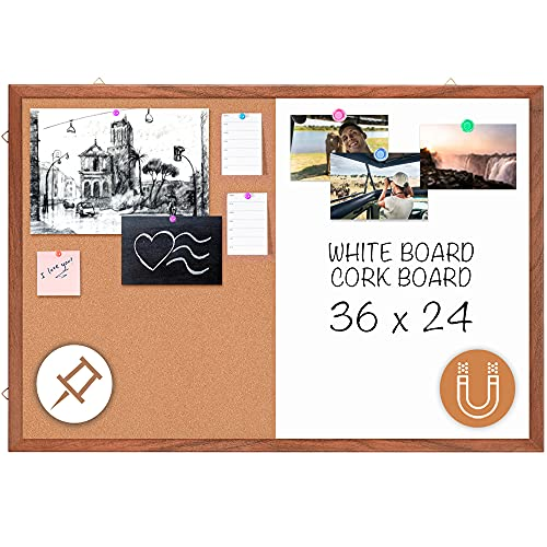 Dry Erase Cork Board Combo, maxtek 36 x 24 inches Hanging Combination Whiteboard for Wall Magnetic Whiteboard & Bulletin Board Wall Mounted for Decor, Home, Office & Classroom [Natural Wooden Frame]