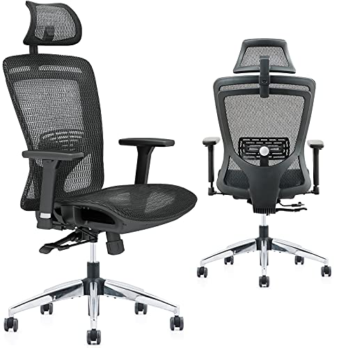 ZUERST Ergonomic Office Chair - Reclining Office Chair with Mesh Seat and Back, Flip-Up Headrest, Lumbar Support, 3D Armrest, Big and Tall Swivel Rocking Computer Desk Chairs for Home Office