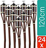 STAR - LINE 24 Gartenfackeln aus Bambus Braun - Lange Brenndauer - Nachfüllbar - 120 cm
