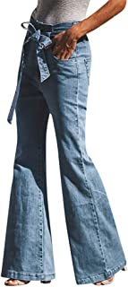 Qootent Women Cotton Jeans Denim Pants Bow Horn Pants Casual Wide Leg Trousers