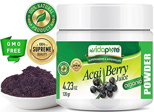 Balla de ACAI BERRY EN POLVO. 100% Pure Natural RAW Non-GMO. SUPERFOOD Polvo para salud, repostería, belleza, cocina y suplementos dietéticos. 120 gramos por myVidaPure