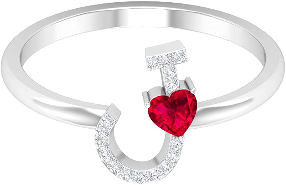 1 4 CT Ruby and Diamond Jewel Alphabet Letter J Gold Low price Ring 5% OFF