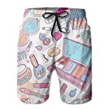 ZMYGH Men's Sports Beach Shorts Board Shorts,Multiple Womens Makeup Products Illustration Cosmetics Beauty and Glamour Concept,Surfing Swimming Trunks Bathing Suits Swimwear,Medium