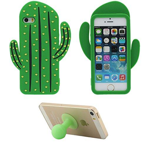 Funda Case para Apple iPhone 5 5S SE 5C Blando Suave Silicona Carcasa Protectora Contraportada 3D Cactus Alivio Forma Verde con 1 Silicona Kickstand