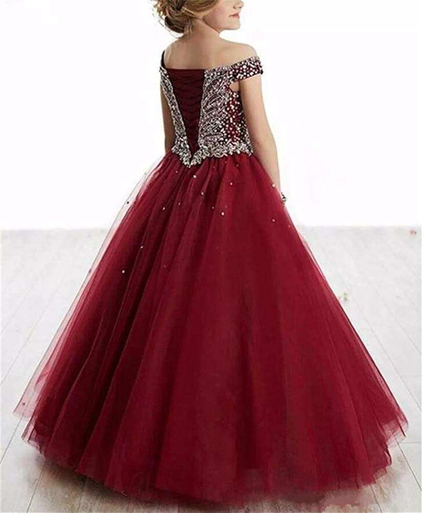 VeraQueen Girl's Off Shoulder Beaded Beauty Pageant Dress Cap Sleeves Ruffled Princess Ball Gown