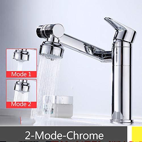 RSZHHL waterkraan chroom/zwart rotatie wastafel facuet dek monteren warme koude mengkraan 2-Mode / 3-modi bad wassen gezicht kraan 2-mode chroom