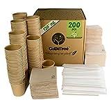 GoBeTree 200 Vasos de café Desechables Kraft con PLA para café expreso de 120 ml con agitadores de Madera en Funda de Papel para café y servilletas recicladas