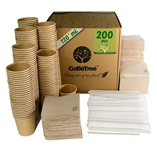 GoBeTree 200 Vasos de café Desechables Kraft con PLA para café expreso...