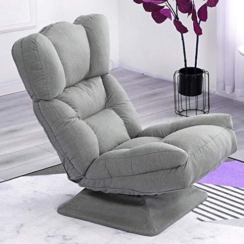 Giratoria juego Silla Suelo sillas ergonómicas, reclinable Silla con respaldo ajustable y 3 Soporte lumbar cómodo plegable Butaca para video juegos perezoso del sofá por un salón lectura que,Gris