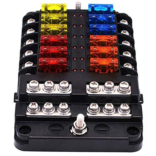 WOVELOT 1 Entree 12 Sorties Circuit A 12 Voies Boite A Fusibles A Lame Standard Kit de Support de Bloc ATO pour Voiture Automatique Bateau Camion Fusible de Voiture Titulaire