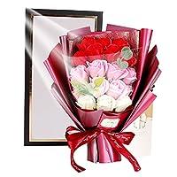 ソープフラワー 記念日 誕生日 父の日 祝い 母の日 プレゼント ギフト 赤紫青 プチギフト 石鹸花 造花 花束 バラ 薔薇 枯れないお花 お礼 贈り物 花 18本ローズ ブルー系 レッド系 パープル系 Cosy Casa Gifts Flower Rose (レッド)