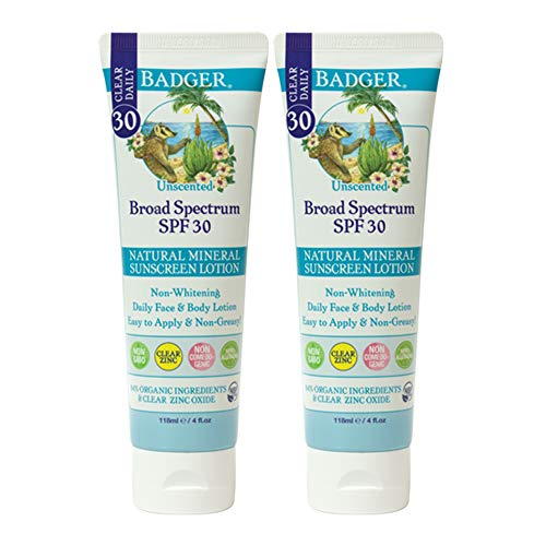 Badger - SPF 30 Clear Zinc Sunscreen Lotion for Face and Body - Unscented - Broad Spectrum Reef Safe Sunscreen, Natural Mineral Sunscreen with Organic Ingredients 4 fl oz (2 pack)