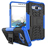 Galaxy J2 Prime Case Galaxy Grand Prime Plus Case, Remex Military Tires Leather and Stent and Shockproof Anti-Scratch Non-Slip for Samsung Galaxy Grand Prime Plus / J2 Prime (Black)