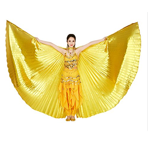 MUNAFIE Belly Dance Isis Wings with Sticks for Adult Belly Dance Costume Angel Wings for Halloween Carnival Performance Golden