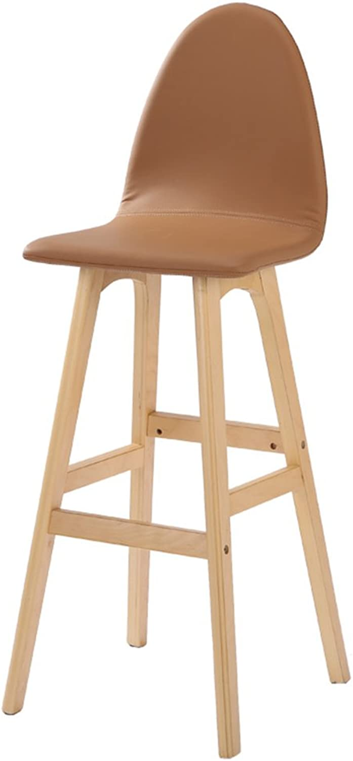 NNN- Simple, Wood, Artificial Leather Cushion Bar Creative High Chair European-Style Wooden Chair Vintage Bar Stool Height 75cm (color   Beige)