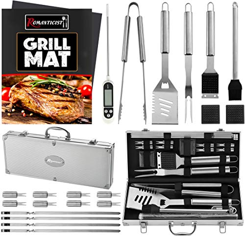 ROMANTICIST 23pc Must-Have BBQ Grill Accessories Set with Thermometer in Case - Stainless Steel Barbecue Tool Set with 2 Grill Mats for Backyard Outdoor Camping - Best Grill Gift for on Birthday