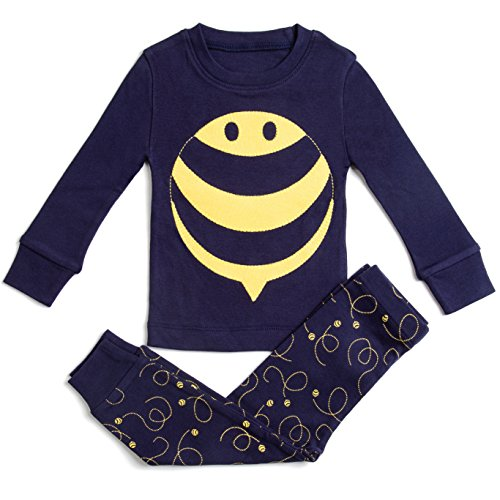 """100% COTTON """"BEE"""" BOYS & GIRLS 2 PIECE PAJAMA SET (SIZE 12M-7Y) ++2 FREE GIFTS! Navy / Yellow 3 Years"""