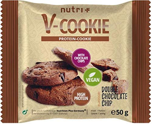 nutri+ vegane V-Cookies, 12 x 50 g Protein Cookie, Double Chocolate Chip