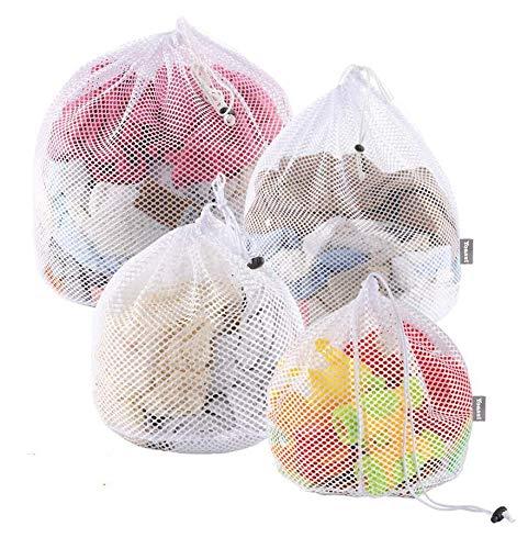 Yoassi - 4 pcs Bolsa de lavandería de malla, Bolsa con Cordón adapta a la lavadora, Pórtatil Bolsas de lavandería para viajes, Bolsas de colada para Medias, Sujetador, Falda, Ropa Interior
