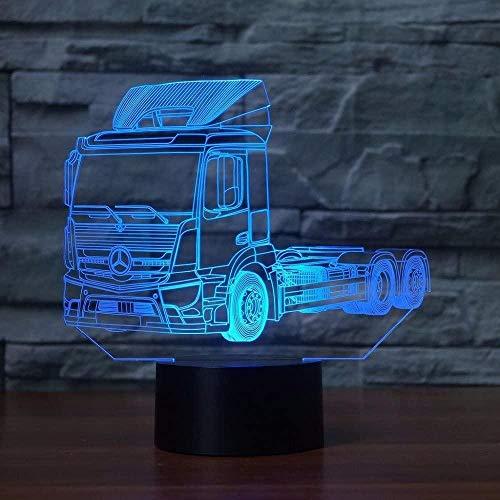 Lámpara de escritorio de mesa de ilusión óptica 3D, vehículo de camión, 7 lámpara de escritorio con interruptor táctil que cambia de color para padres, amigos, regalos de vacaciones