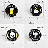 JTXZD Broche 4 unids/Set CAFÉ O Muerte Hacha AX r Esqueleto Iconos Pasadores Oscuros Insignia en Broche Mujeres Hombres Camisa Ropa de Mezclilla