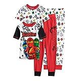 LEGO Boys' Little Four Piece Pajama Pant Set, Red, 6