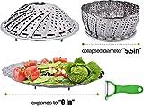 Outgeek Cesta Vaporera, Vapor de Verduras 100% Acero Inoxidable Vapor Plegable Plegable de Vegetales con Mango Extensible (24_cm)