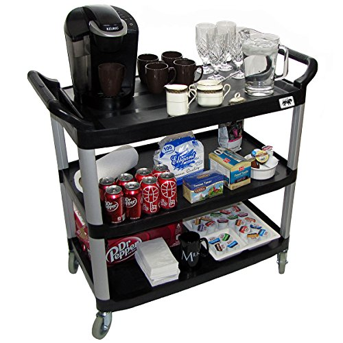 Crayata Serving and Bus Cart, Kitchen Food Service Utility Cart, 3 Tier Heavy Duty Plastic Beverage and Coffee Transport Cart for Restaurants, 400 Pound Capacity, Black