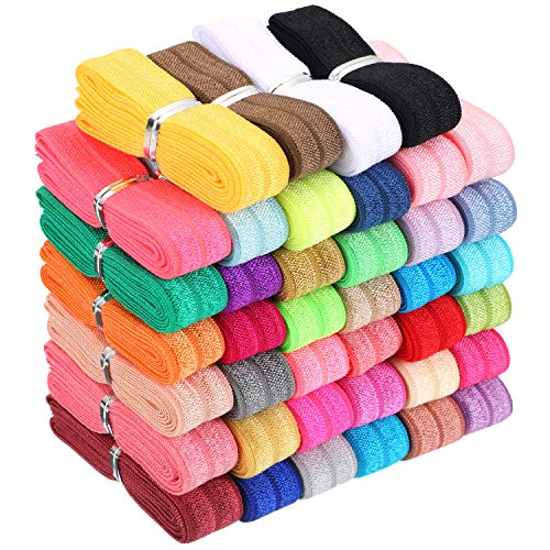 40 Yards Fold Over Elastic Solid Color Trim Elastic 40 Colors Ribbon Sewing Stretch Elastic Foldover Elastic Ribbon Band for Baby Girls Hair Bow DIY Craft Hair Ties Headbands
