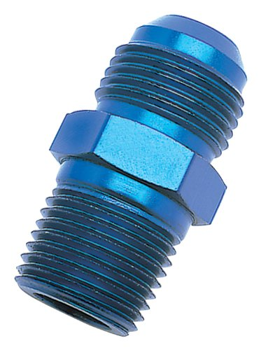 Russell 660440 Blue Anodized Aluminum -6AN Flare to 1/4 Pipe Straight Adapter