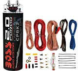 Boss Audio Systems CPBK2 2 Farad 20-Volt LED Digital Voltage Car Audio Power Capacitor and 8 Gauge Car Audio Amplifier Installation Complete Kit