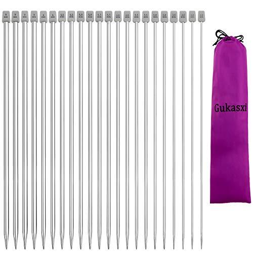 Gukasxi Juego de 11 pares de agujas de tejer de acero inoxidable, 11 tamaños de 2,0 mm a 8,0 mm rectas de una sola punta, agujas de tejer de 25 cm de longitud para tejer hechas a mano