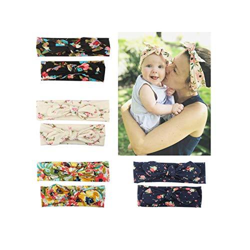 4 diademas de algodón con diseño floral y estampado elástico para bebé y mamá