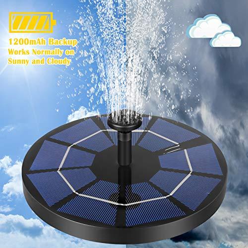 MOAMI Solar Powered Fountain Pump for Bird Bath Upgraded 6 Nozzles, 1200mAh Battery Backup, Solar Bird Bath Fountains for Pool,Rockery,Fish Tank Water Circulation