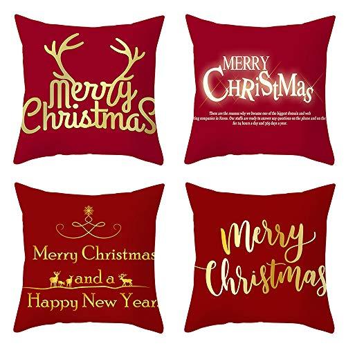 KIACIYA Fundas De Almohada, Cojines Navideños, Funda De Almohada Suave Funda De Cojín para Sofá, Reno Navideño Cojín Merry Christmas Navidad Pillow Almohada De Ciervo Navideño (ZH02)
