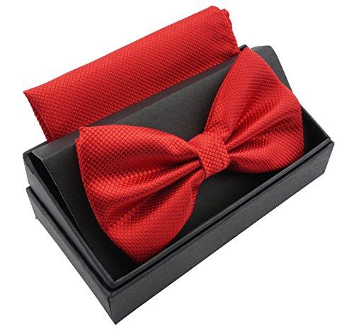 Massi Morino ® Herrenfliegen Set mit Tuch in Rot Männer Anzug Schleife Krawattenfliege bowtie rote rotfarben hellrot rotefliege red feuerrot kaminrot kirschrot