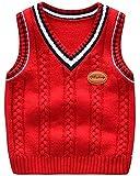 Niños Cuello en V Chaleco Vest Sweater Jerséis de Punto Sin Manga Jersey Rojo 90cm