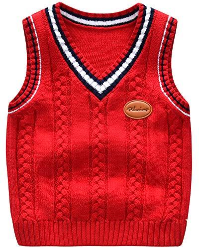 Shengwan Strickweste Kinder V-Ausschnitt Gestrickte Weste Ärmellose Strickpullover Oberteile Rot 110cm