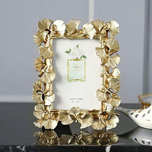 XCVB Fotolijst Decor Ambachten Huwelijkscadeau 4/6 Inch 1pc Vintage Gouden Ginkgo-blad Hars Fotolijst Home Retro, 6 inch goud