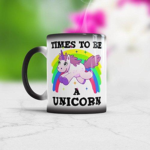 Mug-Times to Be A Unicorn Taza que cambia de color, taza de unicornio arcoíris, taza de unicornio mágico, bonito regalo de unicornio, taza de café divertida de 325 ml