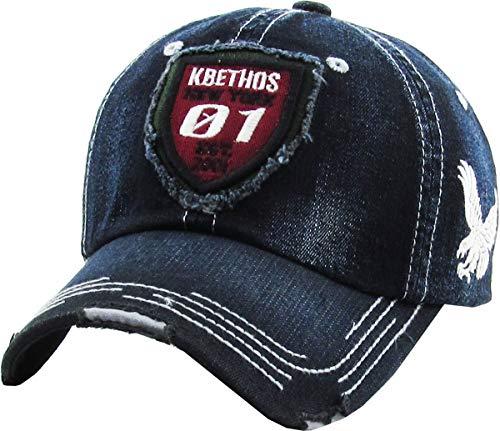 American Spirit Collection USA Distressed Vintage Baseball Cap Dad Hat Adjustable Unconstructed (Adjustable, (4.2) KBETHOS Black)