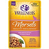 Wellness Healthy Indulgence Natural Grain Free Wet Cat Food, Morsels Salmon & Tuna, 3-Ounce Pouch...
