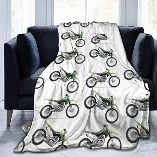 AEMAPE Manta de Lana Verde para Bicicleta de Tierra, Manta Ligera, súper Suave y acogedora, Manta cálida para la Sala de Estar/Dormitorio, Todas Las Estaciones, 60 x 80 Pulgadas