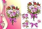 Bouquet di fiori e farfalle, con frontale per decoupage Johnson by Michelle