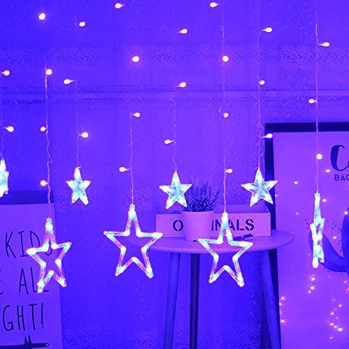 Decdeal LED Sternenvorhang Licht Dekorative Lichterkette Weihnachtsbeleuchtung Eine Lichterkette Hat 6 Große Sterne 6 Kleine Sterne 220V (Warmes Weiß/Mehrfarben/Weiß/Blau Optional