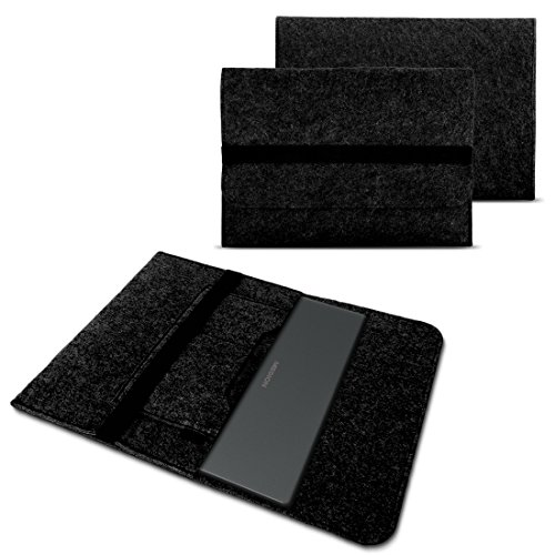 NAUC Tasche Hülle für Medion Akoya E2216T E2228T Filz Sleeve Schutzhülle Laptop Hülle Cover Notebook Bag aus strapazierfähigem Filz in dunkel Grau mit Innentaschen & sicheren Verschluss