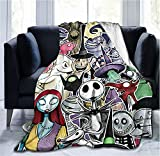 The Nightmare Before Christmas Blanket Jack and sally Ultra Soft Throw Flannel Blanket Light Weight Warm Fuzzy Blanket for Bed Couch Chair Living Room,Fit Adult Kids Halloween decorations80x60in Mei T